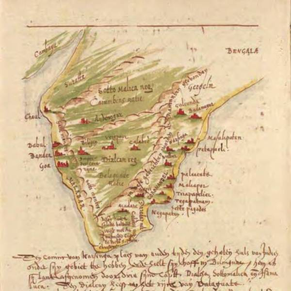 Sketch map of Indian subcontinent, first half of 17th century <br />