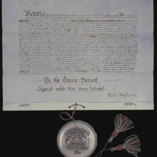Queen Victoria signed this document on 9 July 1900 – the bill providing for the creation of the Commonwealth of Australia became law<br />