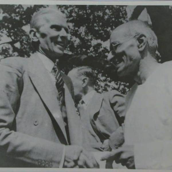 "Quaid-i-Azam (left), the ""Great Leader of Pakistan""<br />"